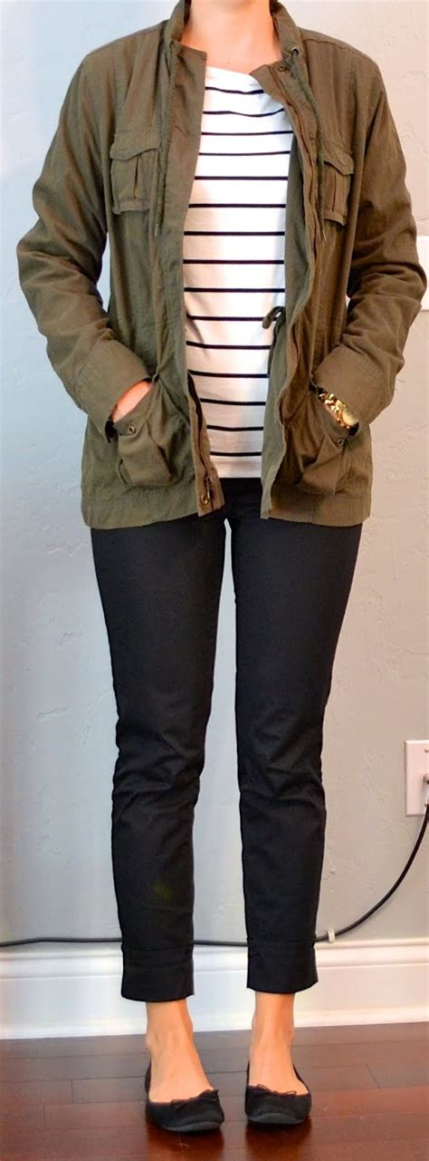 Outfit post striped shirt military jacket black cropped pant