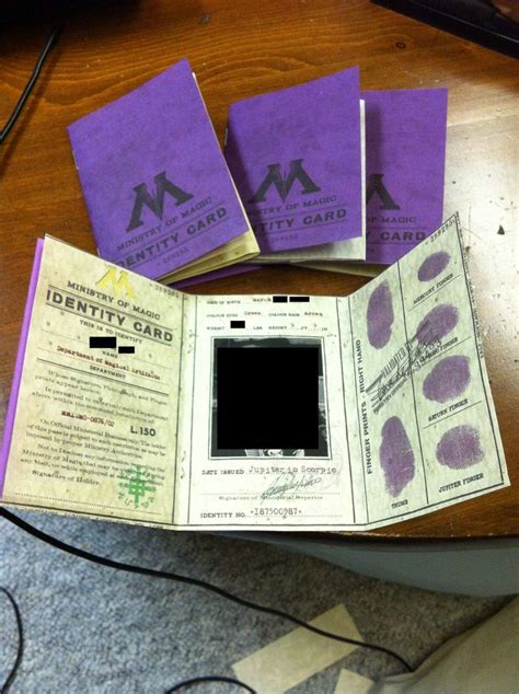 harry potter ministry  magic identification card harry