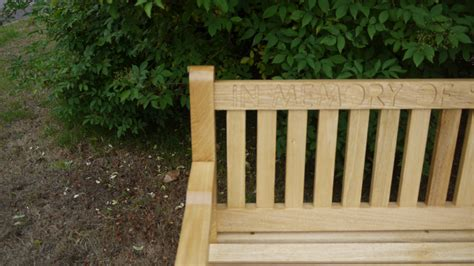 memorial bench  engraving  wooden workshop