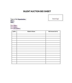 Free Template For Silent Auction Bid Sheets 40 Silent Auction Bid Sheet Templates Word Excel Template Lab