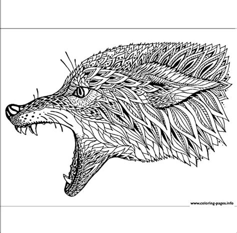 coloring pages animal adult coyote wolf adults print printable fox coyotes patterned ethnic totem tribal drawn abstract tattoo graphic artwork