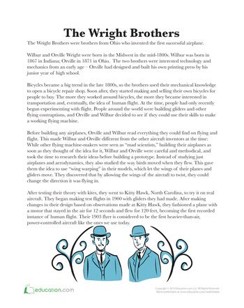 the wright brothers wright brothers worksheets and