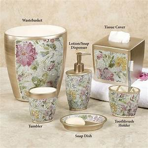 Watercolor floral mosaic bath accessories for Flower bathroom sets