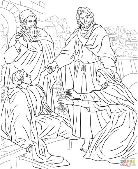 jesus raises widows son coloring page  printable