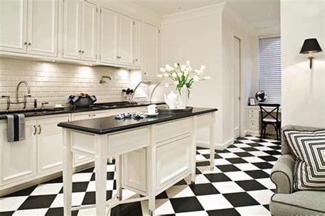 Chceckered Tile Floor   Transitional   kitchen   Eva