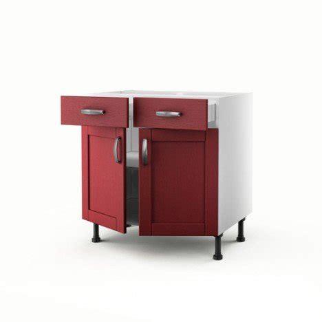 meuble de cuisine bas rouge 2 portes 2 tiroirs rubis h