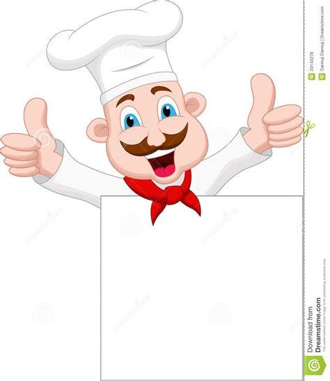 cuisine de a z chef chef character with blank sign stock illustration