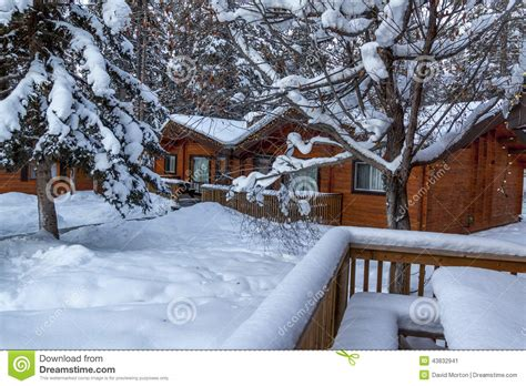 Snow Scene With Log Cabins Stock Image Image Of Snow
