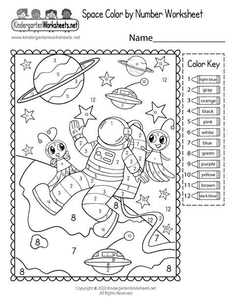 space color  number worksheet  printable digital