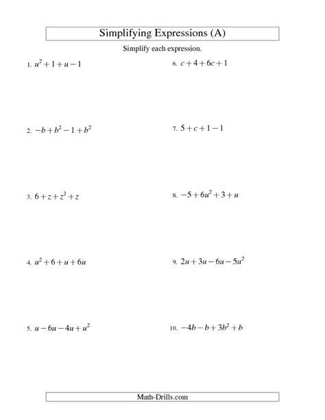 algebra worksheet simplifying algebraic expressions