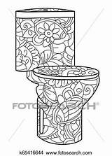 Toilet Flush Antistress Coloring Adult Astrakhan Doodle Lines Pattern Fotosearch Raster sketch template