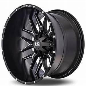 22 U0026quot  Hardrock Wheels H700 Affliction Satin Black Milled Off