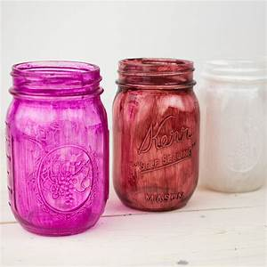 Diy, Colored, Mason, Jars