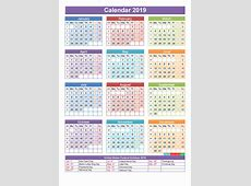 Get Printable Holiday Calendar 2019 with USA Holidays