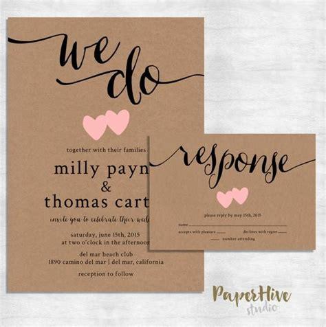 Rustic Wedding Invitation Kraft Paper Wedding Invite Set