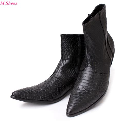 Spring Autumn Korean Style Men Boots Black White Snakeskin