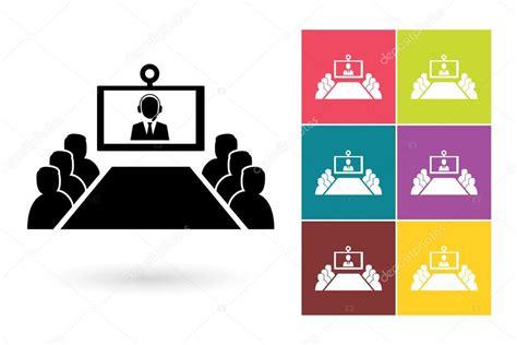 Konferenz-vektor-symbol Oder Videokonferenz-symbol