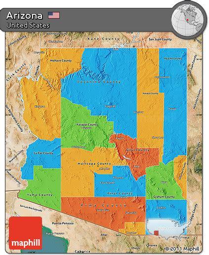 Free Political Map Of Arizona Satellite Outside