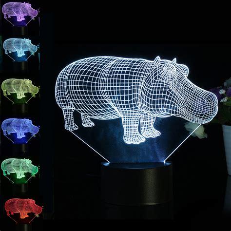 lumiere de bureau 3d le de table de bureau d 39 hippopotame 7 couleurs