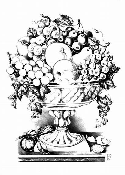 Coloring Fruit Bowl Pages Basket Flowers Different