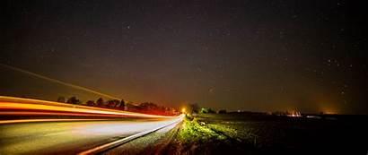 Exposure Sky Road Starry Night Stars 1080p