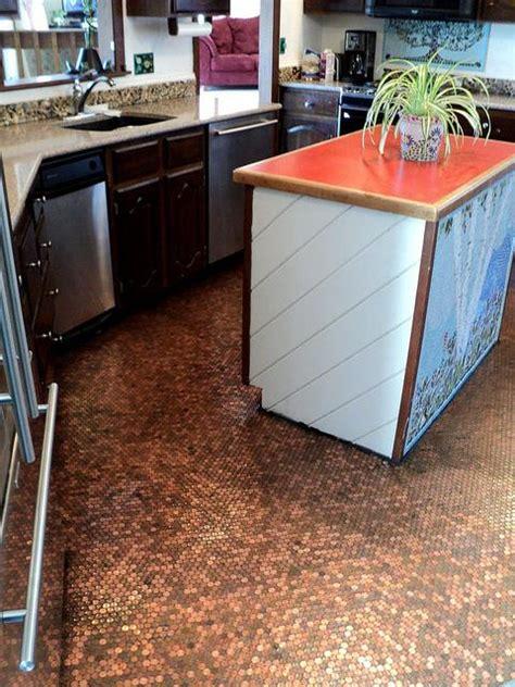 kitchen floor made of pennies copper floor part 1 of 4 diy mosaic pennyfloor 8070