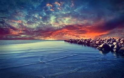 Colorful Nature Sunset Landscape Sea Coast Desktop