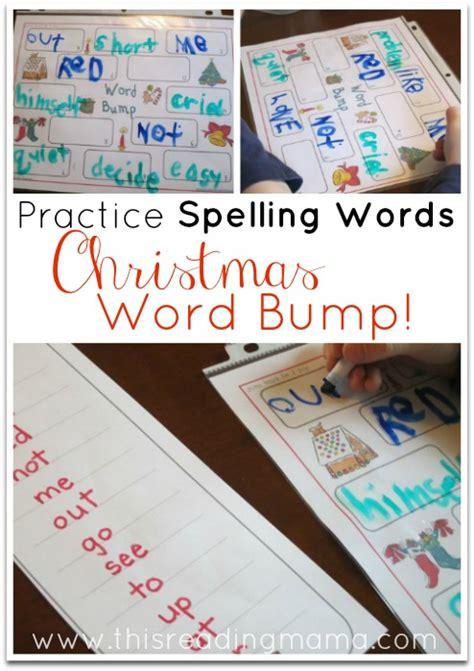 practice spelling words  christmas word bump