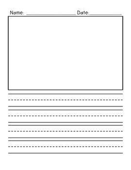 primary writing paper vertical  illustration box  lines primary writing paper primary