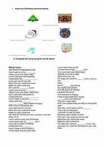Song Worksheet All I Want For Christmas Is You By Mariah