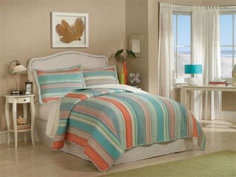 amagansett blue  orange striped quilt sets  retro