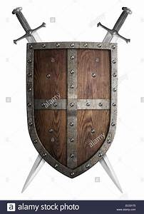 old wooden medieval crusader shield and two crossed swords ...