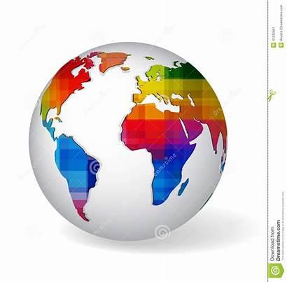 Rainbow Icon Glob Colored Globe Earth Map