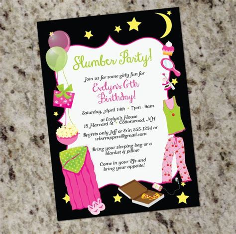 sleepover birthday partyt invitations slumber party