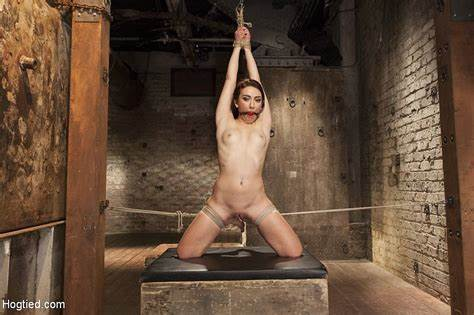 Punishment For A Muse Mandy Babe Is Rope Bound With Orange Ballgag Slaps And