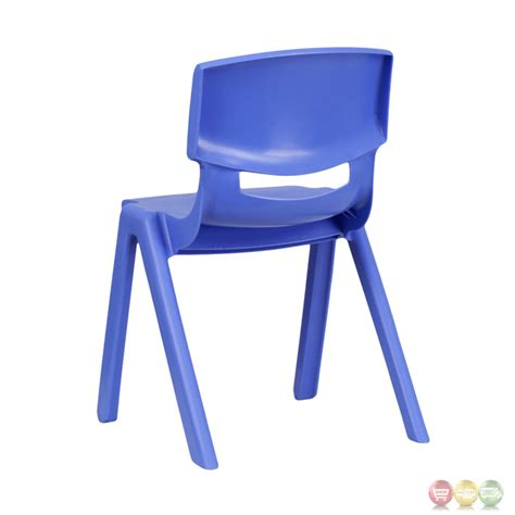 blue plastic stackable school chair with 13 25 inch seat