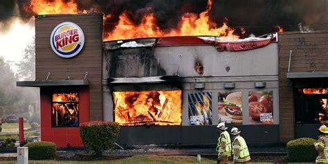 burger kings burning stores   perfect print