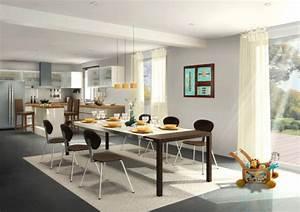 deco salle a manger salon With deco cuisine avec salon et salle a manger design
