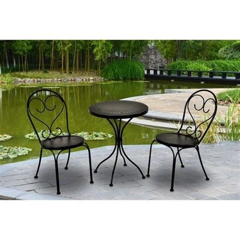 3 outdoor scroll bistro set table chairs small black