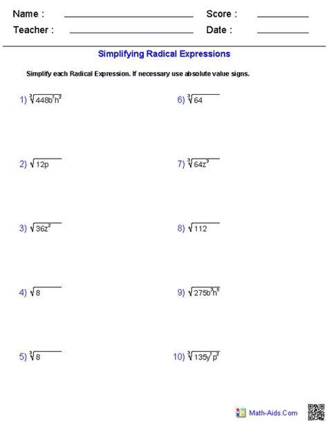 simplifying radicals worksheets math aids
