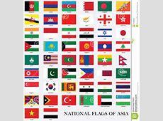 Bandiere Nazionali Dell'Asia Fotografia Stock Immagine