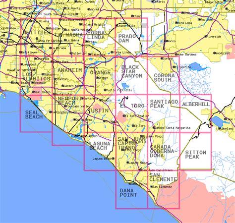 orange county california map topographic maps  orange