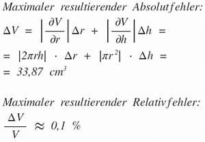 Fehler Rechnung : lineare fehlerfortpflanzung f r v r h pi r 2 h und ~ Themetempest.com Abrechnung