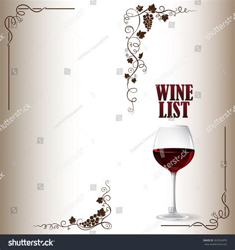 cover wine list bunch grapes grape stock vector