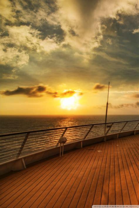 cruise ship deck sunset  hd desktop wallpaper