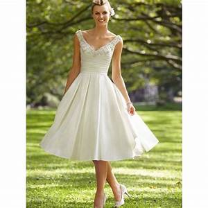 vestidos de novia sale empire mid calf v neck none vestido With mid calf wedding dresses