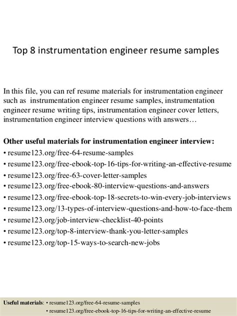 Instrumentation Engineer Resume Headline by Top 8 Instrumentation Engineer Resume Sles