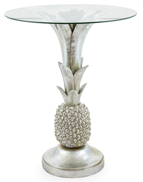 silver table l base glass side table with pineapple base solo homewares