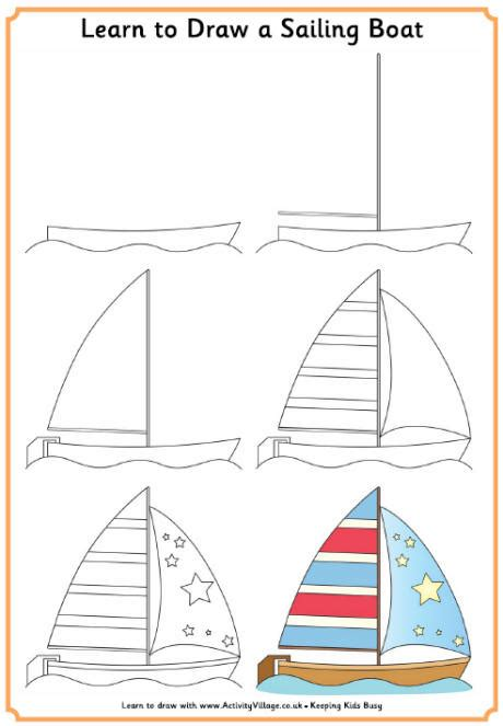 How To Draw A Boat Sailing by Learn To Draw A Sailing Boat