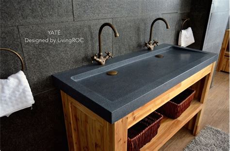 trough sink with double stainless steel faucet and large